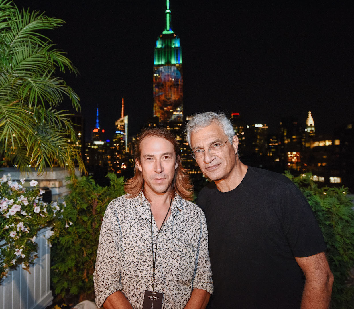 NEW YORK, NY - AUGUST 01:  (L-R) Travis Threlkel, Chief Creative Officer of Obscura Digital, and Louie Psihoyos, founder of Oceanic Preservation Society attend Projecting Change: The Empire State Building at The Empire State Building on August 1, 2015 in New York City.  (Photo by Grant Lamos IV/Getty Images for The Oceanic Preservation Society)
